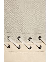 Chloé - Natural Leather and Linen-blend Dress - Lyst