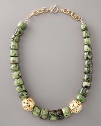 Devon Leigh | Green Coral Stone Necklace | Lyst