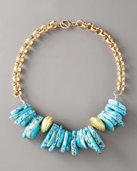 Devon Leigh - Blue Chunky Turquoise Necklace - Lyst