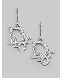 Dior - Metallic Logo Drop Earrings/white - Lyst