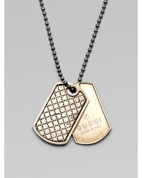 Gucci - Metallic Sterling Silver Dogtag Necklace for Men - Lyst