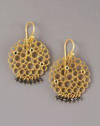 Gurhan - Metallic Black Diamond Circle Earrings - Lyst
