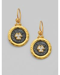 Gurhan - Metallic Pavé Diamond & 24k Yellow Gold Drop Earrings - Lyst