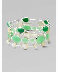 Ippolita - Green Mother Of Pearl Cabochon & Sterling Silver Bracelet - Lyst