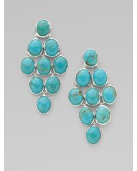 Ippolita | Metallic Turquoise Cabochon & Sterling Silver Earrings | Lyst