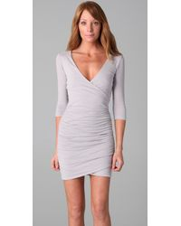 James Perse - Gray Wrap Dress - Lyst