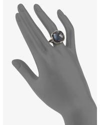 Judith Ripka | Blue Quartz & Hematite Doublet Cushion Stone Ring | Lyst