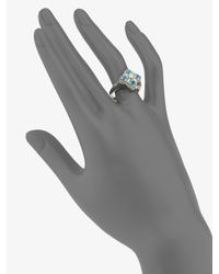 Lagos - Diamond, Blue Topaz, Sterling Silver & 18k Yellow Gold Ring - Lyst