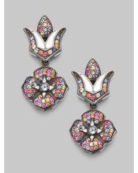 M.c.l  Matthew Campbell Laurenza | Multicolor Sapphire Pavé & Sterling Silver Drop Flower Earrings | Lyst