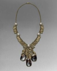 St. John - Black Bead and Glass Drop Necklace - Lyst