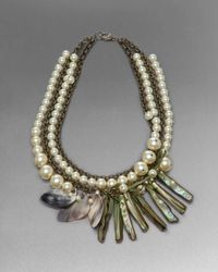 St. John | Metallic Shell Statement Necklace | Lyst