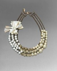 St. John | Metallic Triple-strand Bead Necklace | Lyst