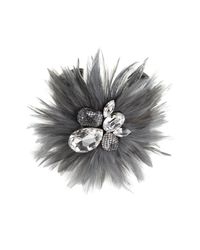 Tasha | Gray Feather & Crystal Wide Cuff | Lyst