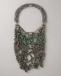 Vera Wang | Gray Wrapped Rhinestone Necklace, Green | Lyst