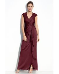 Adrianna Papell | Purple Faux Wrap Chiffon Gown | Lyst