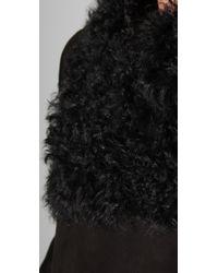 DKNY - Black Pure Dkny Shearling Coat - Lyst