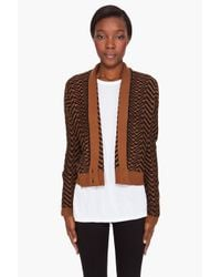 Elizabeth and James - Black Herringbone Deep V Cardigan - Lyst