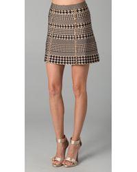 Hervé Léger | Natural Houndstooth Bandage Skirt | Lyst