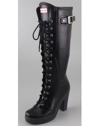 HUNTER - Black Lapins Lace Up High Heel Boots - Lyst