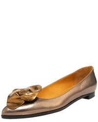Lanvin | Metallic Pointed-toe Ballerina Flat | Lyst
