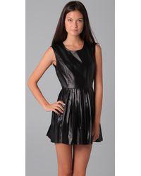 Shakuhachi - Black Pleated Leather Dress - Lyst