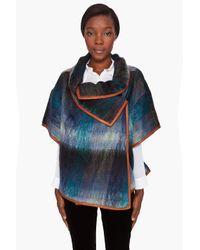 SUNO | Blue Mohair Leather Trim Plaid Cape | Lyst