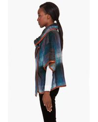 SUNO - Blue Mohair Leather Trim Plaid Cape - Lyst