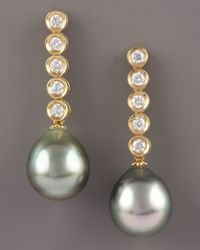 Assael | Metallic Diamond and Pearl Drop Earrings | Lyst