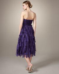 Badgley Mischka - Purple Strapless Shredded-skirt Dress - Lyst