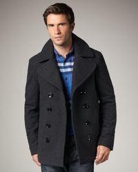 Burberry Brit - Gray Short Wool-blend Pea Coat for Men - Lyst