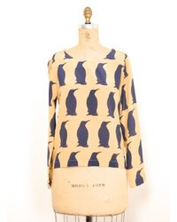 Charlotte Taylor | Blue Blouse With Winter Penguins By | Lyst