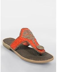 House of Harlow 1960 | Orange Emerson Thong Sandals | Lyst