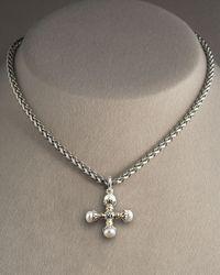 Konstantino - Metallic Pearl Maltese Cross Pendant - Lyst