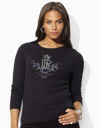 Lauren by Ralph Lauren | Black Plus Cutout-back Jersey Tee | Lyst