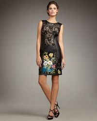 Mandalay | Black Lace & Leather Embroidered Dress | Lyst