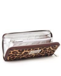 MICHAEL Michael Kors - Multicolor Jet Set Continental Wallet, Leopard - Lyst