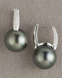 Mikimoto - Gray Black South Sea Earrings - Lyst