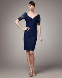 Monique Lhuillier | Blue Ruched Cocktail Dress | Lyst