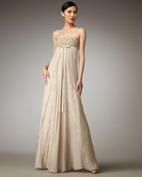 Robert Rodriguez - Natural Emma Strapless Bow-front Gown - Lyst