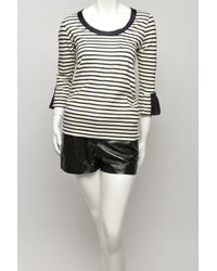 Sacai - Black Striped Ruffle-sleeve T-shirt - Lyst