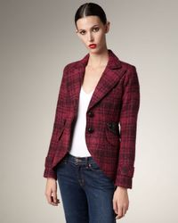 Smythe - Red Plaid Leather-patch Jacket - Lyst
