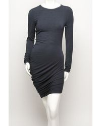 T By Alexander Wang   Blue Ruched Long Sleeve Dress   Lyst