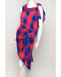 Thakoon - Red Plaid Asymmetrical Dress - Lyst