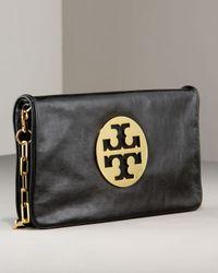 Tory Burch - Black Reva Glazed Leather Clutch Bag - Lyst