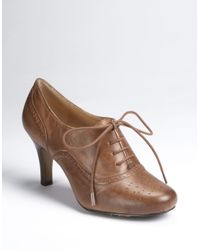Adrienne Vittadini - Brown Penn Leather Oxford Booties - Lyst