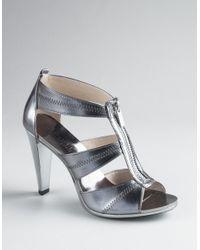 MICHAEL Michael Kors | Metallic Berkley T-strap Sandals with Zipper Detail | Lyst