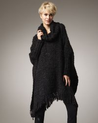 DKNY | Black Knit Turtleneck Poncho | Lyst