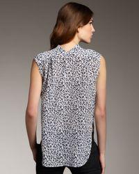 Theyskens' Theory - Blue Leopard-print Sleeveless Blouse - Lyst