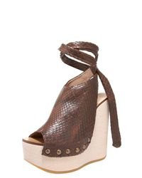 Chloé | Brown Python Tie-up Wedge Clog | Lyst