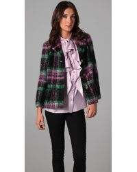 MILLY | Multicolor Mohair Plaid Stanley Jacket | Lyst